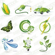 Exquisite green series icon vector material