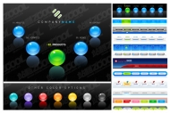 3 web design navigation buttons vector material