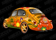 Lovely flowers, car vector material