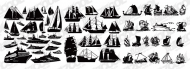 A variety of sailing ship silhouette vector material