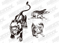 Fire Lion totem vector material