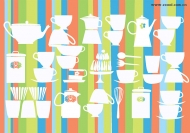 Lovely tableware background vector material