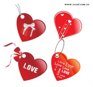 Tag love heart-shaped vector material