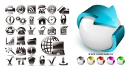 Black and white and three-dimensional icon vector material