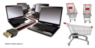 Laptop computers and shopping cart vector material
