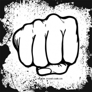 Fists and ink border vector material