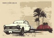 Retro-style cars coconut tree vector material