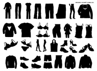 Clothing, shoes, silhouette vector material