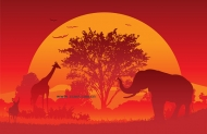 Sunset Vector material under the African continent,