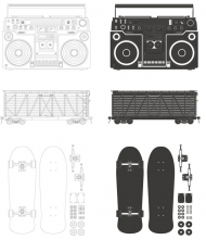 Radio - container - skateboards Vector material