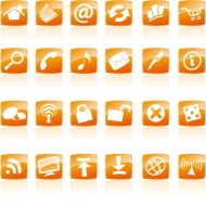 Orange crystal style icon vector material commonly used web