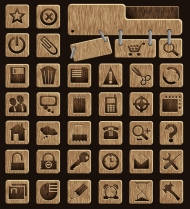 Wood Icons Vector material