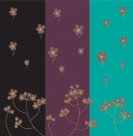 Tri-color flowers vector background material