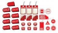 Vector graphic decorative label all kinds of red material -2