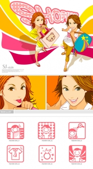 Shopping Girl Vector material