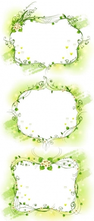 Three kinds of elegant yellow-green decorative frame Vector