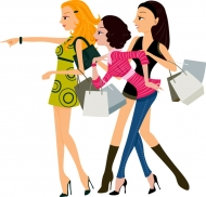 Fashion shopping women vector material