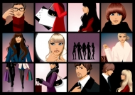 Fashionable men and women feature vector material