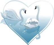 Heart-shaped vector material White Swan