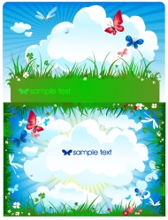 Butterfly grass clouds Vector material