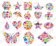 Colorful vector graphic shapes composed of material