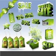 Green marketing discount icon vector material