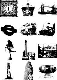 London City silhouette vector element material