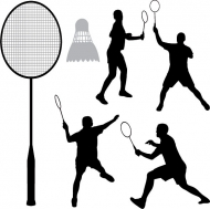 Badminton silhouettes vector material