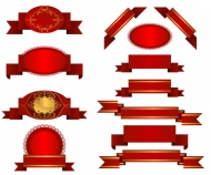 Several red ribbon ribbon vector material