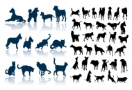Cat dog silhouettes vector material