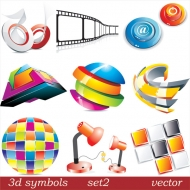 Three-dimensional icon vector material