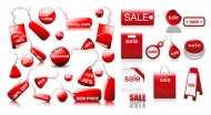 Sales discount red icon vector material