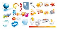 2 sets of beautiful 3D icon vector material