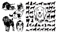 Black and white dog silhouettes vector material