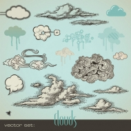Pen and ink style vector material clouds