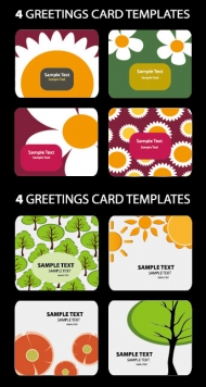 Lovely cards vector material