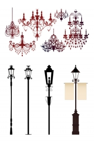 Ornate chandelier lights silhouette Vector