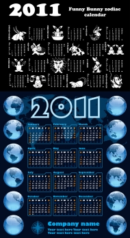Calendar Year of the Rabbit 2011 - Vector
