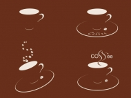 Four cups of coffee silhouette - Vector