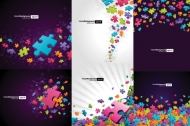 Colorful puzzle pieces theme background Vector