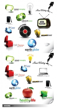2 sets of beautiful three-dimensional icon vector material