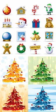 Elements of the lovely Christmas Icons - Vector