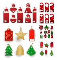 Vector Christmas sales discount labels
