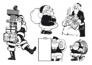 Santa monochrome illustrations material