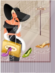 Fashion Women Shopping  (Vector Graphic)