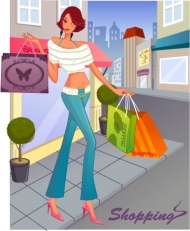 8 Fashion Women Shopping (Vector Design)