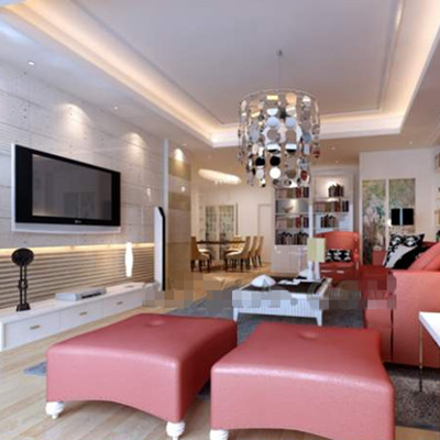 Pale pink warm-theme living room
