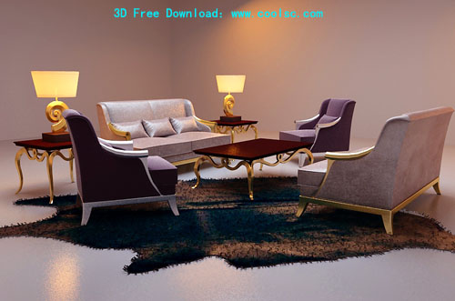Bao Yang leisure sofa combination sofa, furniture, 3D model