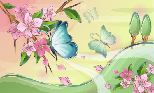 South Korea Vector Landscape material - Flower and Butterfly