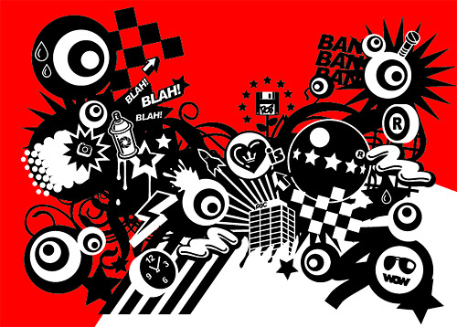 With The Tide Of Red And Black Design Elements Vector